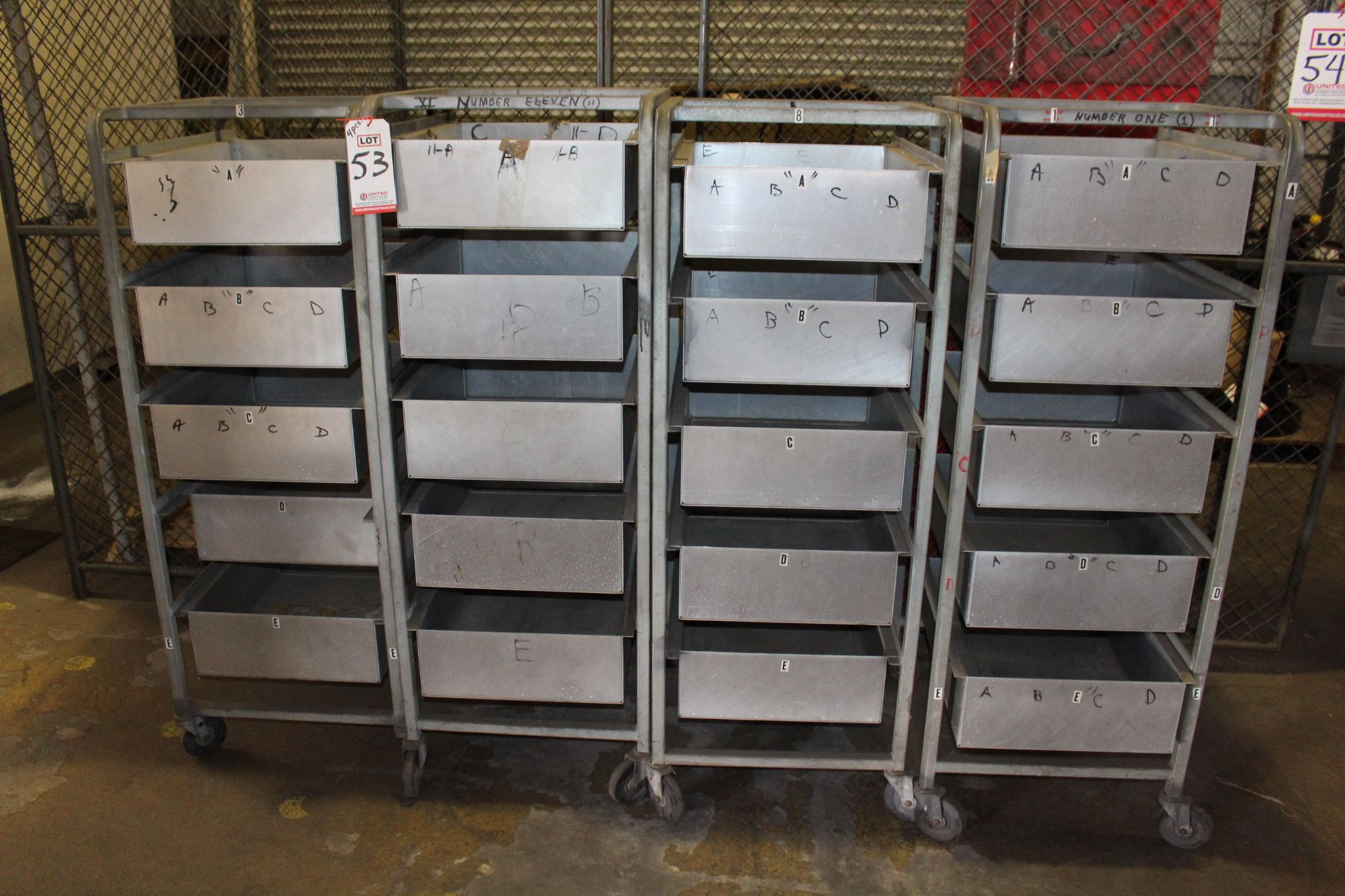 Lot 53 - LOT - (4) 5-DRAWER MOBILE PARTS CADDY