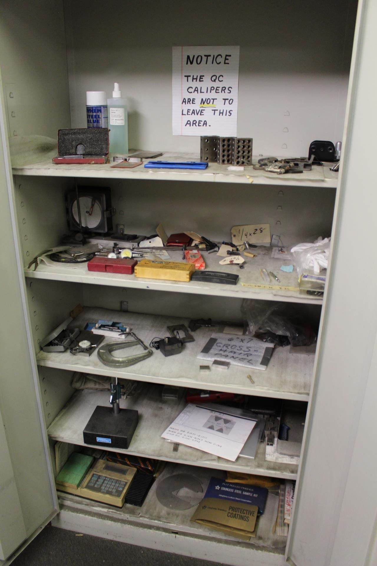Lot 21 - LOT - 2-DOOR STORAGE CABINET, W/ CONTENTS OF MISC INSPECTION ITEMS