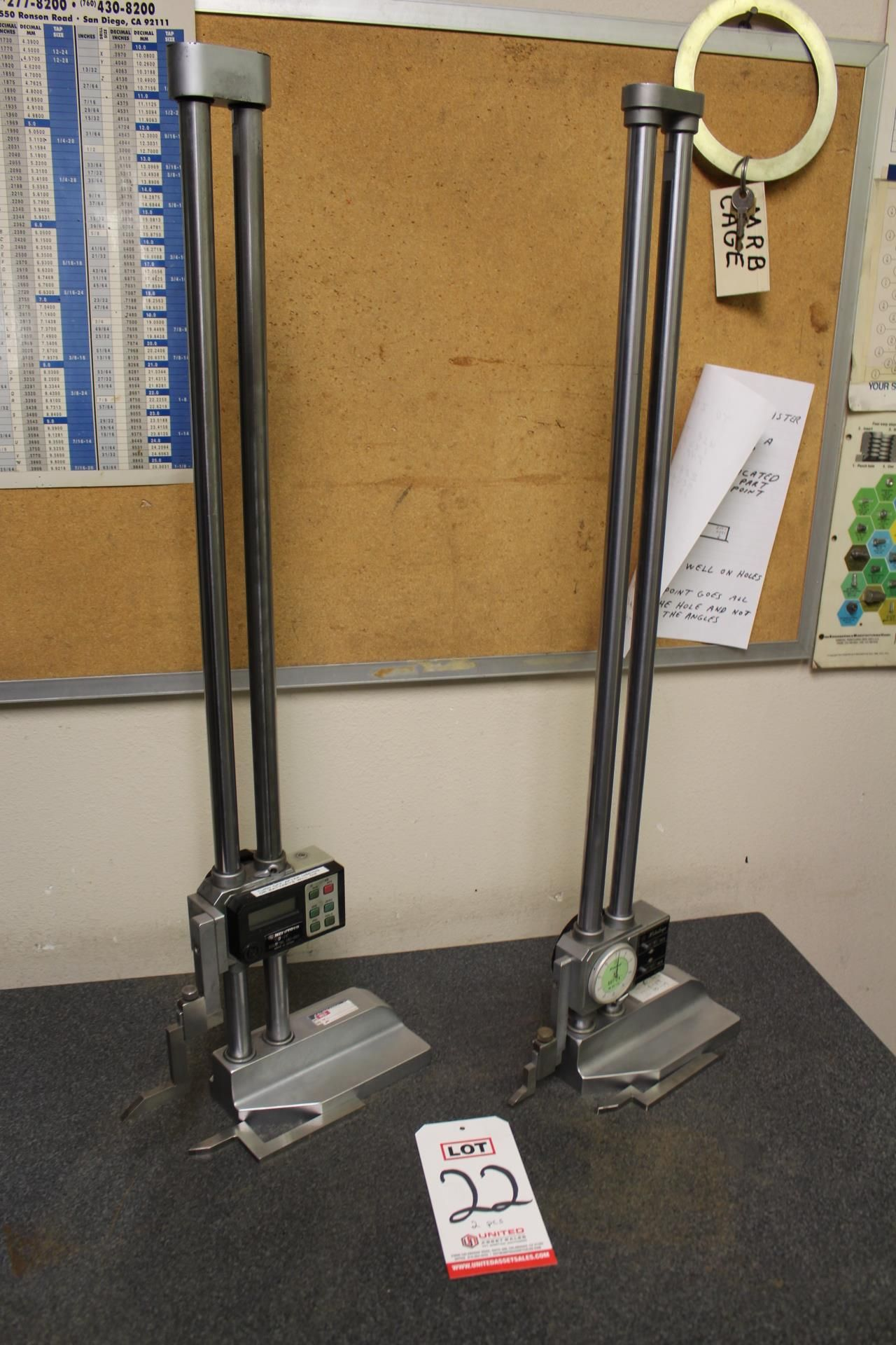 "Lot 22 - LOT - (1) MITUTOYO 24"" DIGITAL HEIGHT GAUGE AND (1) MITUTOYO 24"" DIAL HEIGHT GAUGE"