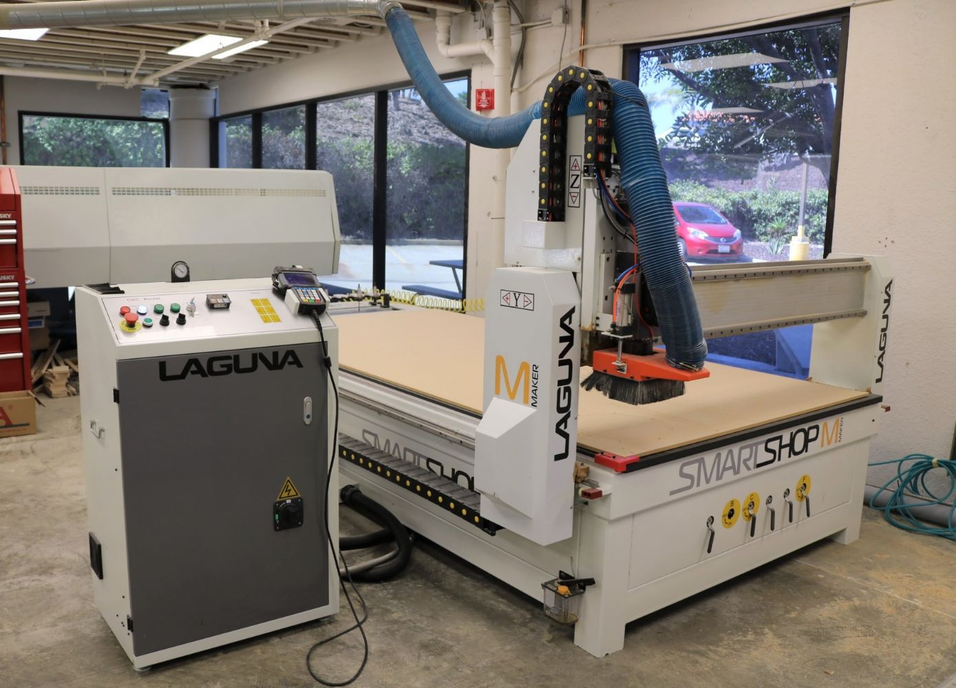 (2) 2018 LAGUNA SMARTSHOP MAKER CNC ROUTERS, SCHELLING PANEL SAW, TOYOTA & HYSTER FORKLIFTS, PALLET RACKING, NEW SPEAKERS, SOUND STAGE!