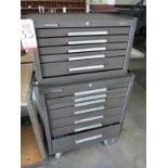 LOT - KENNEDY TOOL BOX: 5-DRAWER UPPER BOX AND 7-DRAWER LOWER BOX, W/ CONTENTS