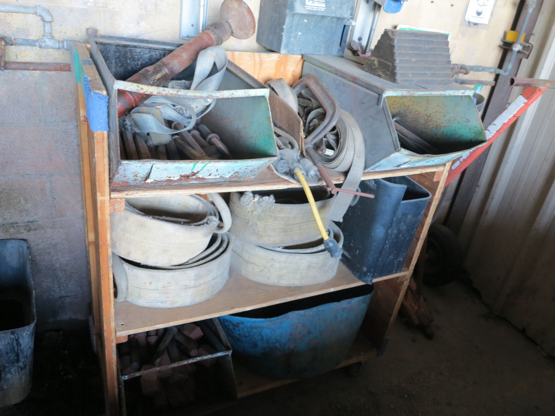 Lot 10 - LOT - ALL ITEMS ON BACK WALL, TO INCLUDE: FLAMMABLE LIQUID CABINET, JACKHAMMER BITS, TOW HITCH
