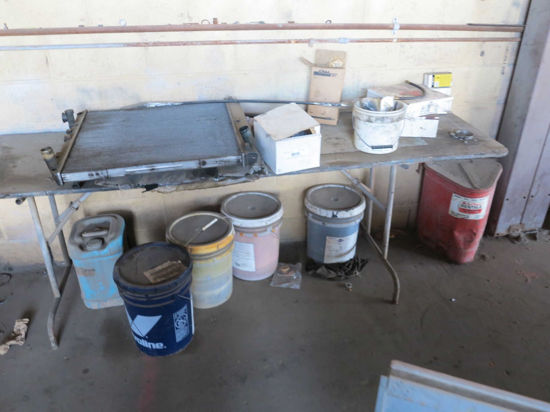 Lot 24 - LOT - ALL ITEMS ON BACK WALL (EXCEPT AIR COMPRESSOR), TO INCLUDE: PARTS BIN, EAGLE 1930 FLAMMABLE