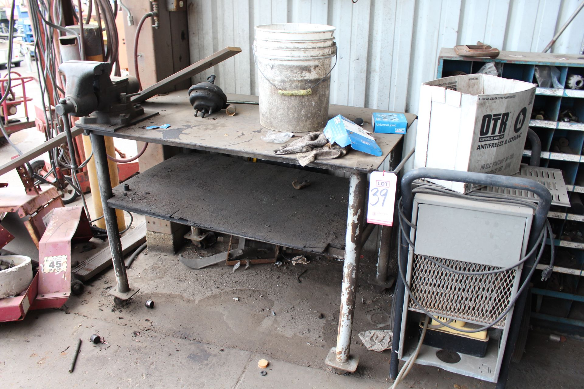 "Lot 39 - ***VOID*** LOT - WELDING TABLE, 48"" X 29"", W/ 6-1/2"" BENCH VISE, DEHUMIDIFIER, OUT OF SERVICE"