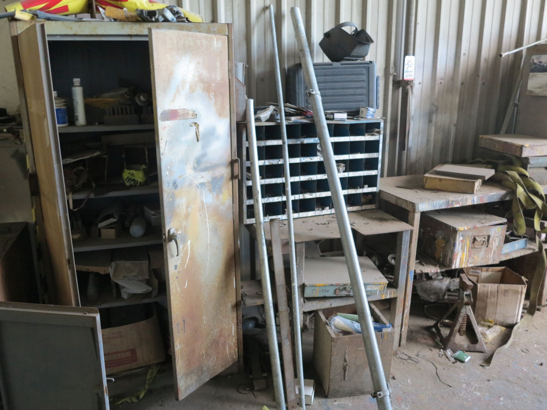 Lot 25 - LOT - (4) STORAGE CABINETS W/ CONTENTS, (2) TABLES, ETC.