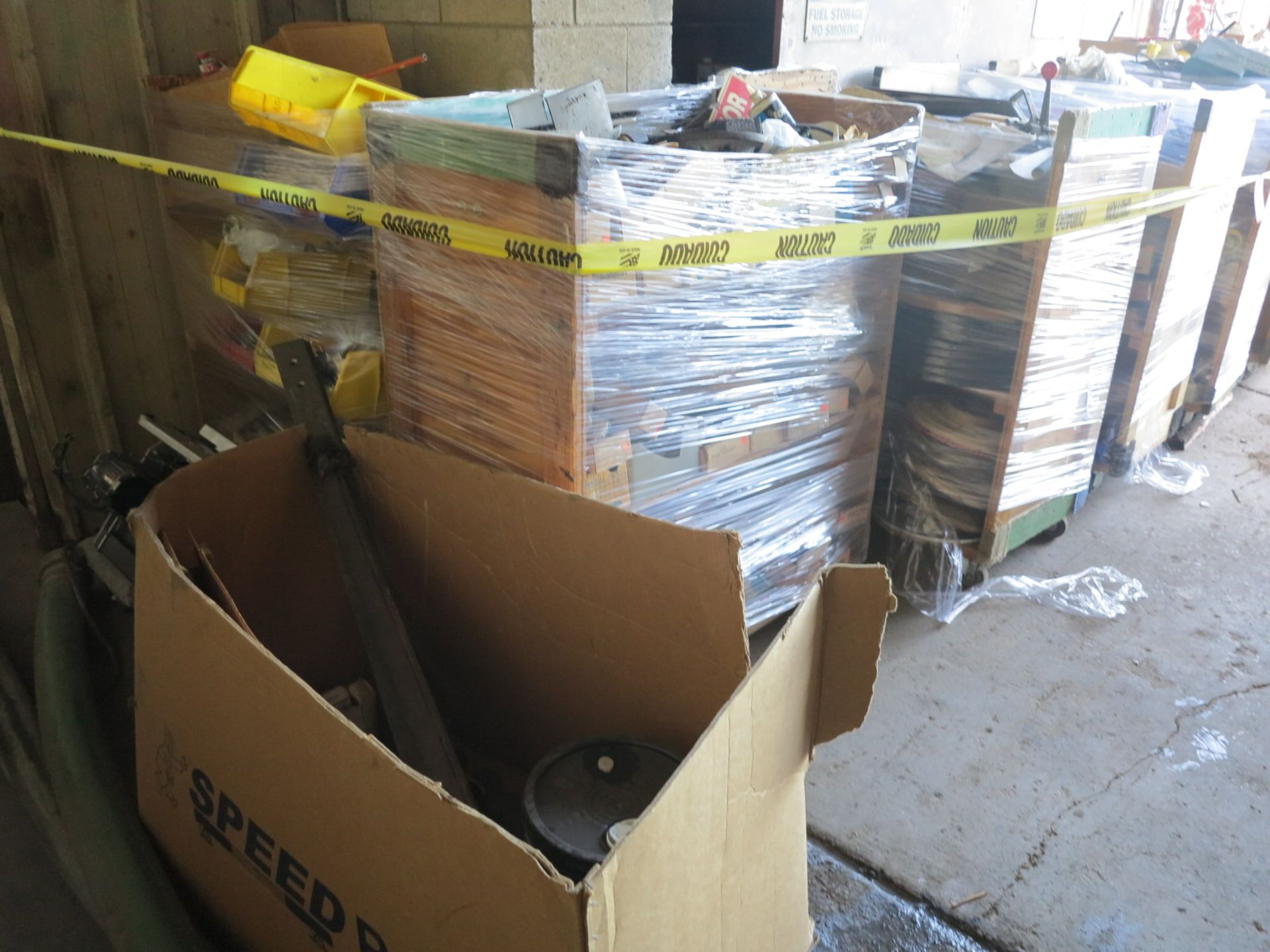 Lot 11 - LOT - (5) CARTS TO CONTAIN: AUTOMOTIVE, PLUMBING, ELECTRICAL, SANDPAPER, FLOOR BUFFING PADS,
