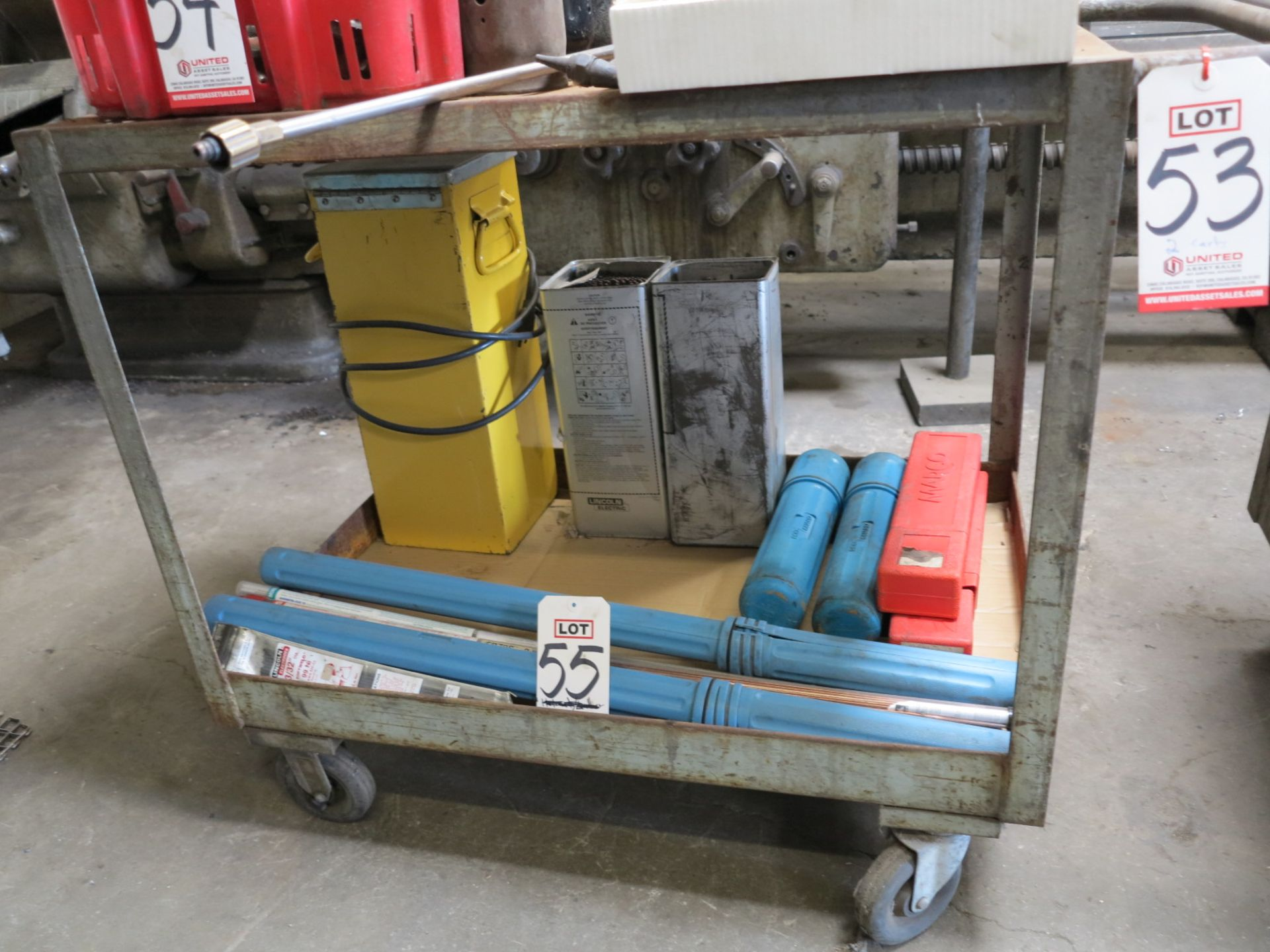 Lot 53 - LOT - (2) STEEL SHOP CARTS, CONTENTS NOT INCLUDED