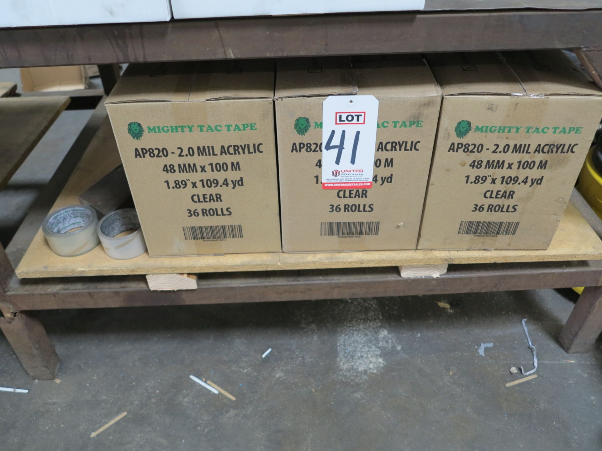Lot 41 - LOT - (3) CASES OF MIGHTY TAC 2 MIL ACRYLIC TAPE