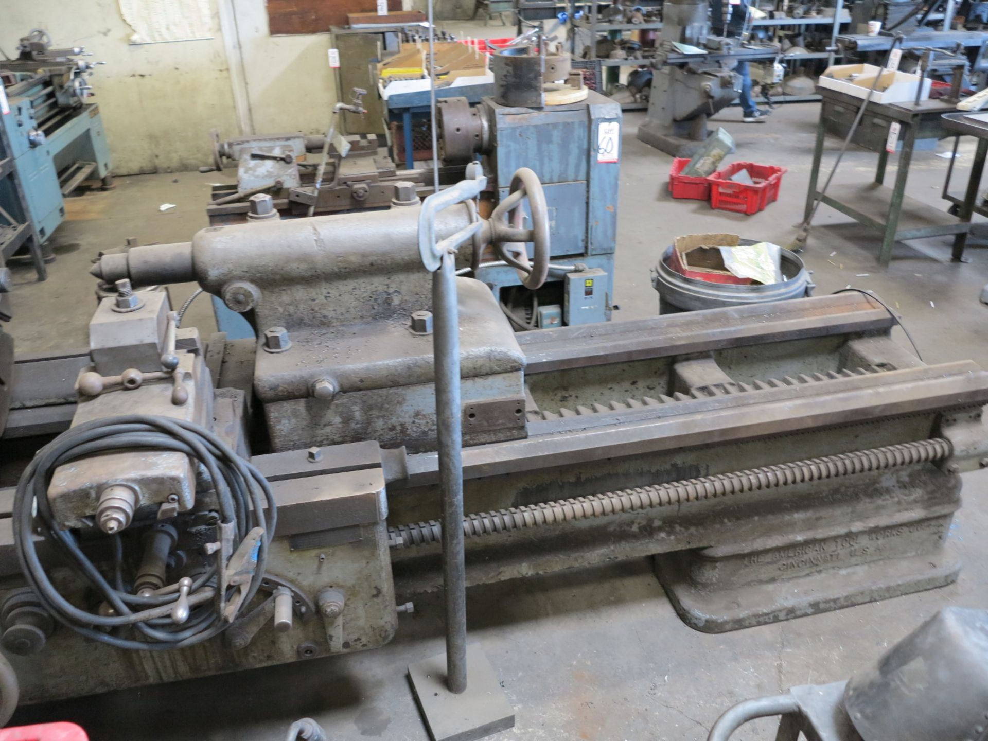 "Lot 59 - AMERICAN TOOLWORKS 36"" LATHE, 4-JAW CHUCK, S/N 7836"
