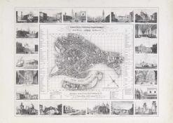 Venedig. - Pianta e vedute principali della Regia Cittá di Venezia, Plan (34 x 42,5 cm) mit