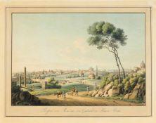 Rom. - Prospect von Rom mit dem Grabmal des Kaisers Tiberius, Gesamtansicht mit Blick auf die