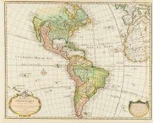 Amerika. Nord- und Südamerika. Carte d'Amerique. 1722.Kolorierte Kupferstichkarte von und bei