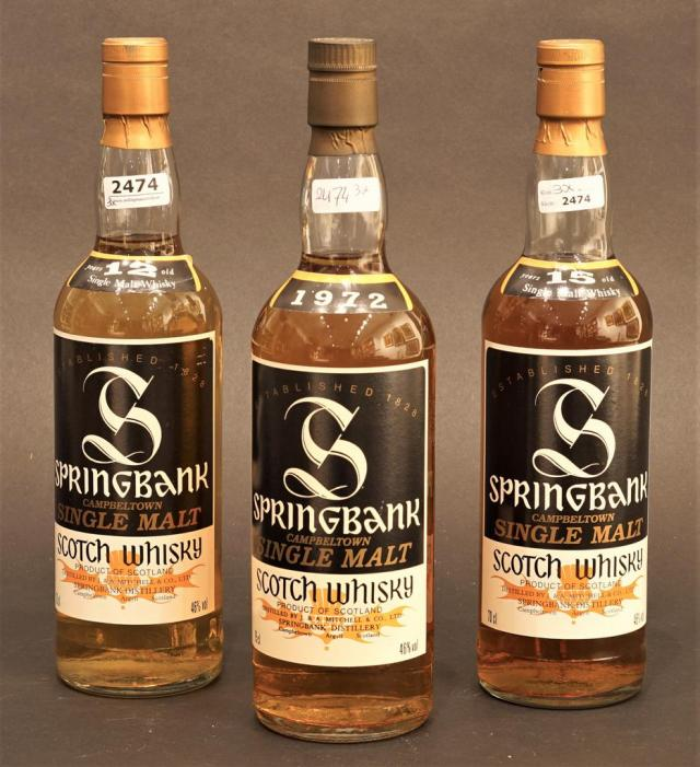 Lot 2474 - Springbank Whisky, 12 years old + Springbank Whisky 15 years old + Springbank Whisky (3x)