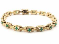Armband 750 GG / 32 g, punziert W + Krone, Smaragde; Länge ca. 18,5 cm