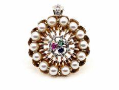 Perlbrosche bzw. Anhänger ca. 585 GG / 17,1 g, Handarbeit; 14 Perlen, Ø ca. 5,0 mm, 11 kleine