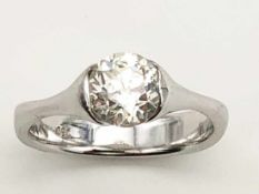 Ring 750 WG / 4,3 g, 1 Diamant Altschliff, ca. 1,40 ct, Tinted Yellow, piqué 2, Ø ca. 6,95 mm; RG: