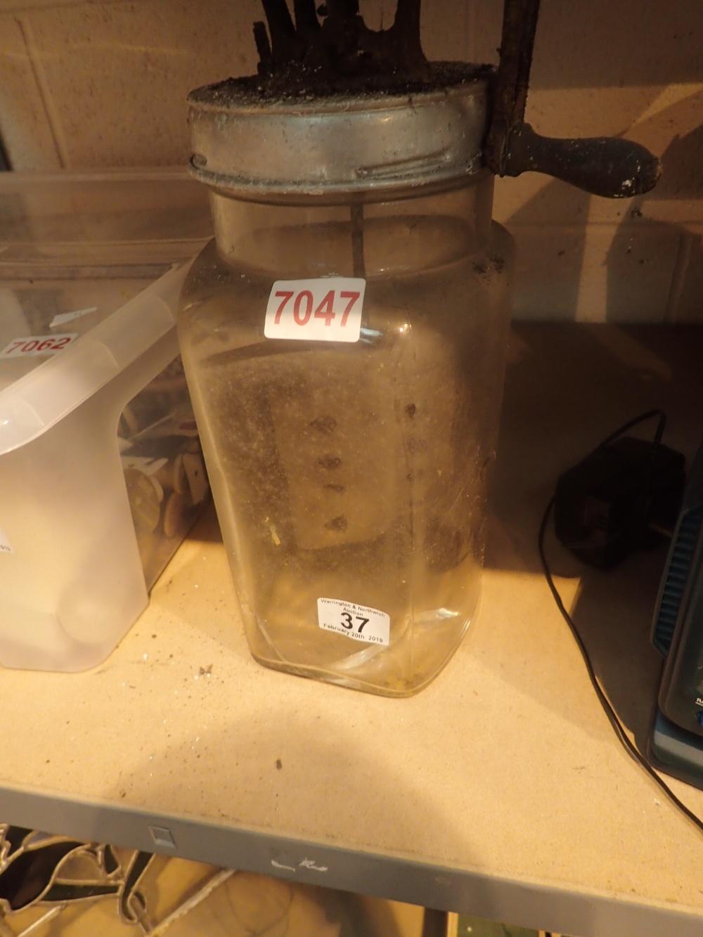 Lot 37 - Antique glass butter churn