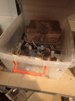 Lot 38 - Box of sewing related items including reels
