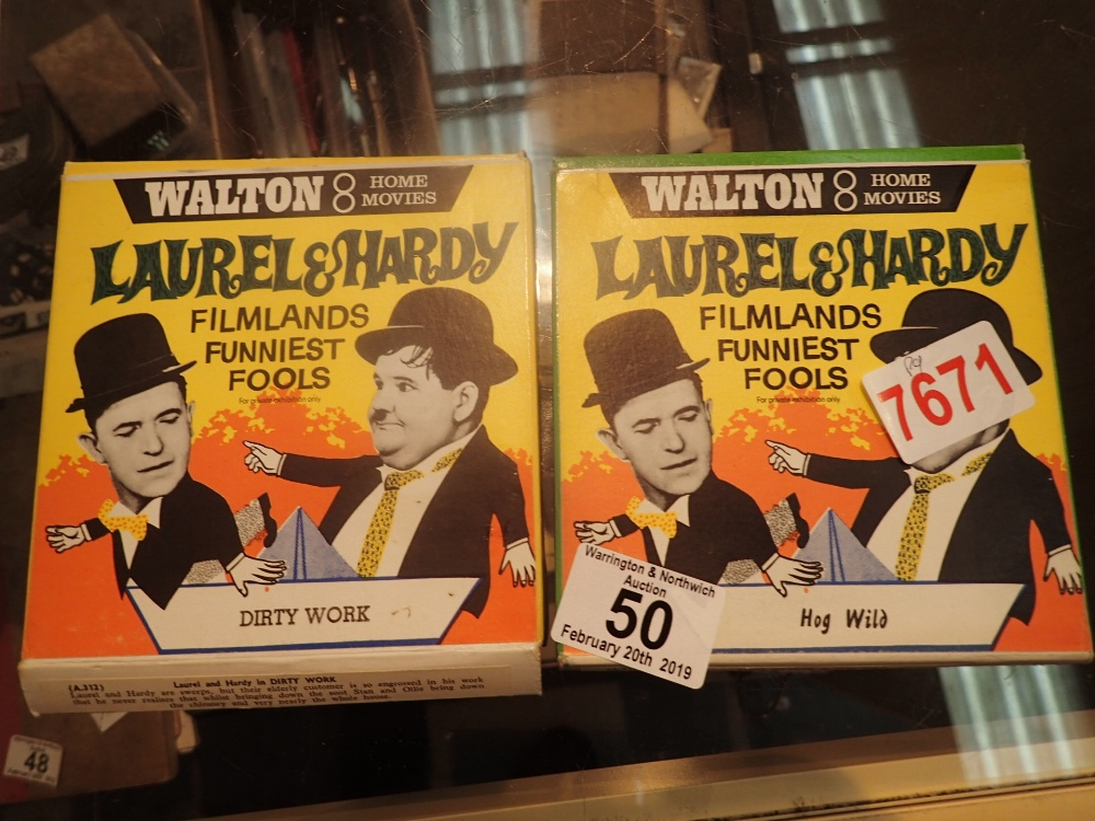Lot 50 - Two Walton 8 mm Laurel and Hardy films Hog Wild and Dirty Work