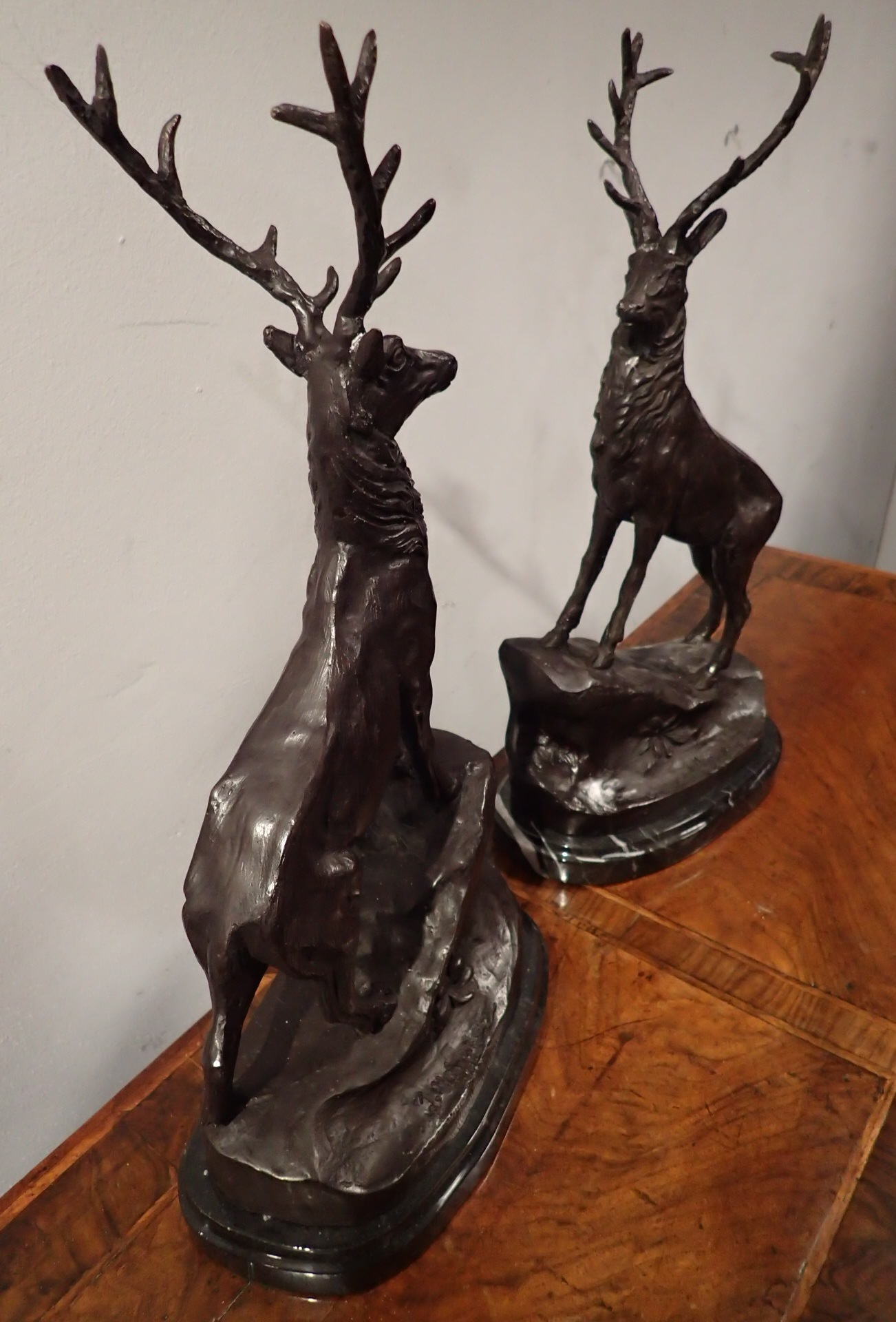 Lot 1750 - Pair of bronze stags on marble bases H: