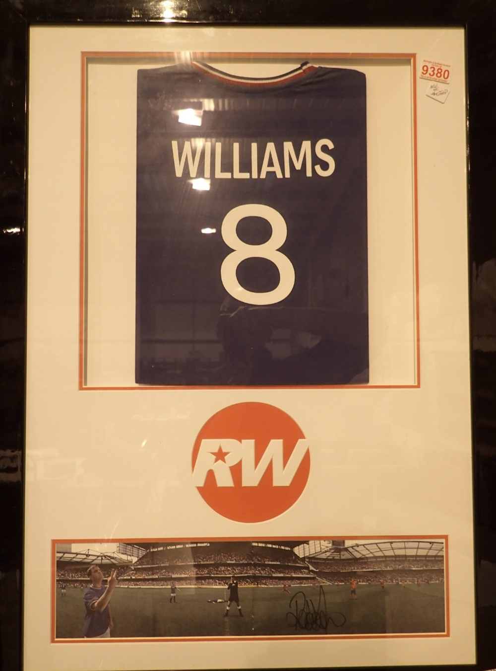 Lot 799 - Framed and glazed blue no 8 Soccer Aid s
