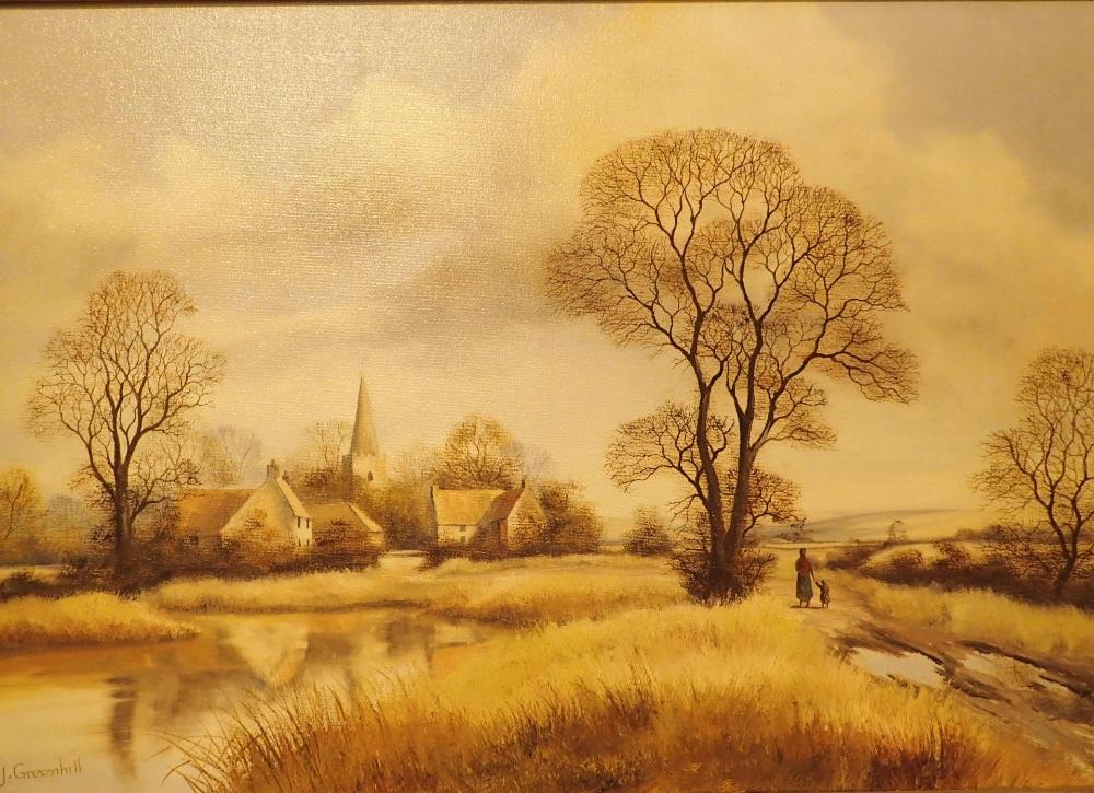 Lot 792 - Gilt framed oil on canvas landscape of a