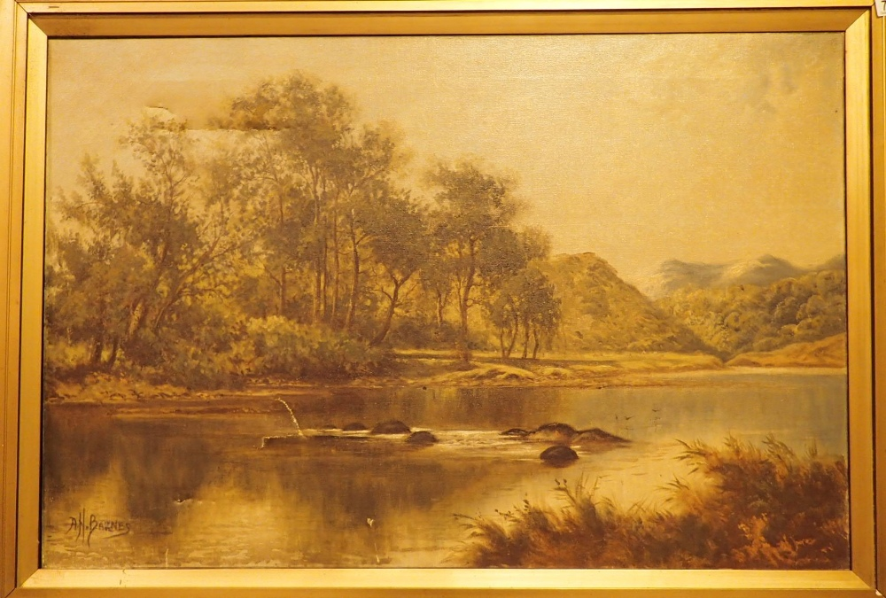 Lot 807 - A H BARNES Large framed oil on canvas of