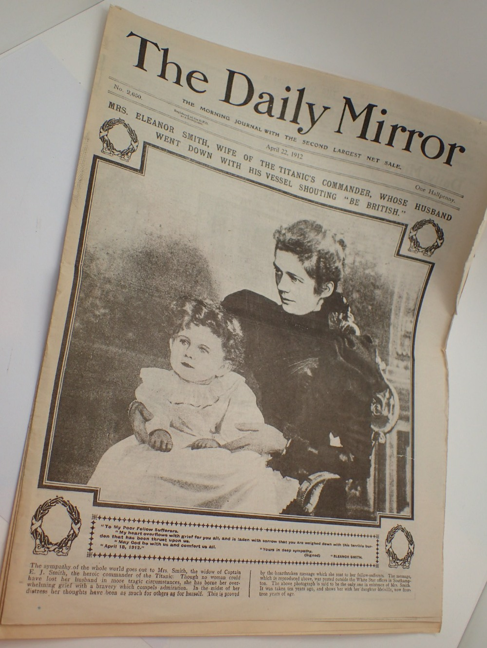 Lot 1494 - Three Daily Mirror newspapers April 1912