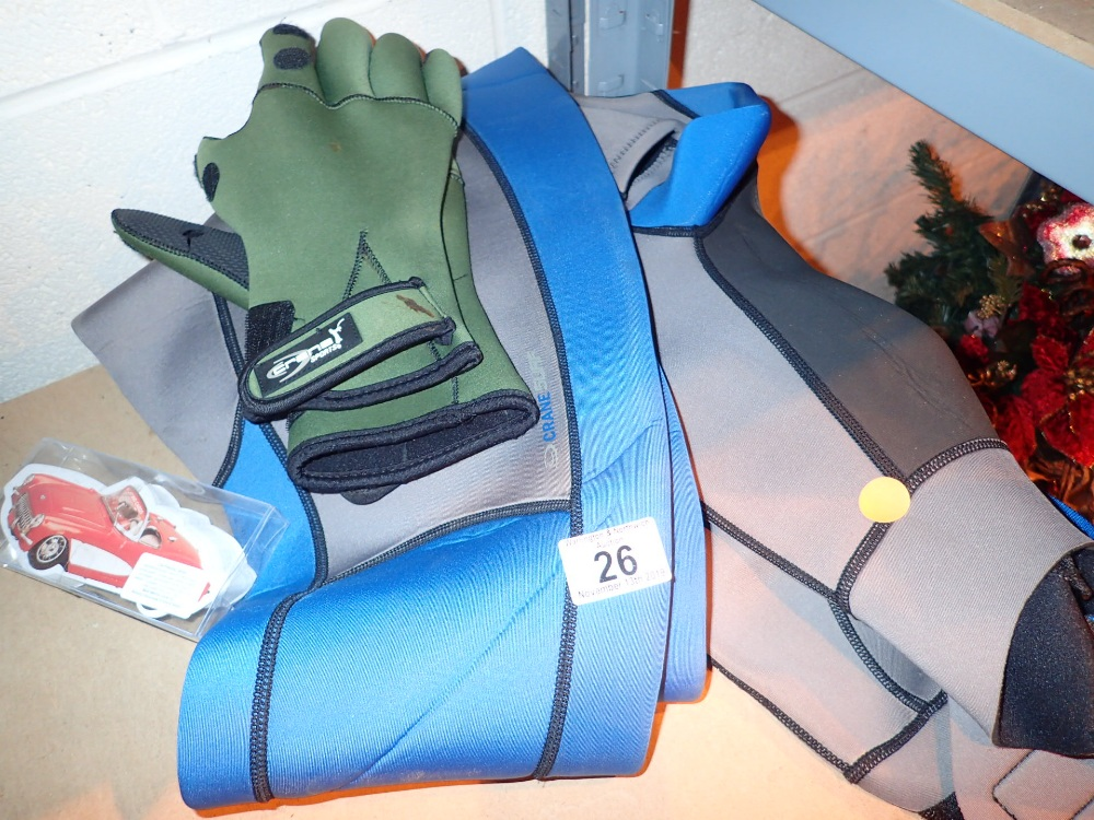 Lot 26 - Wetsuit and gloves