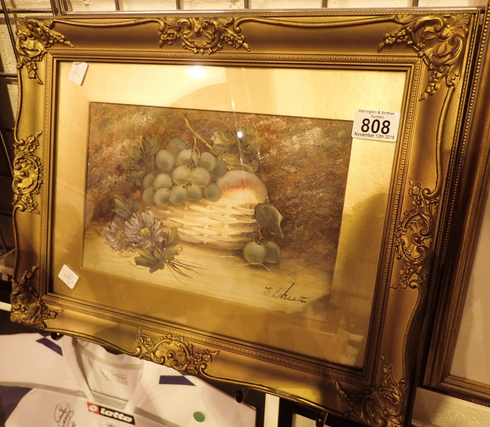 Lot 808 - E CHESTER Framed and glazed still life o