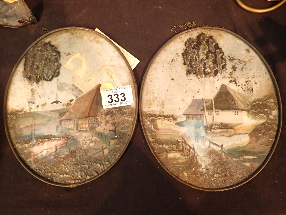 Lot 333 - Two Victorian oval paintings on glass H:
