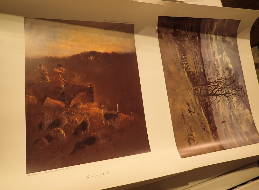Lot 825 - Two unframed limited edition hunting rel