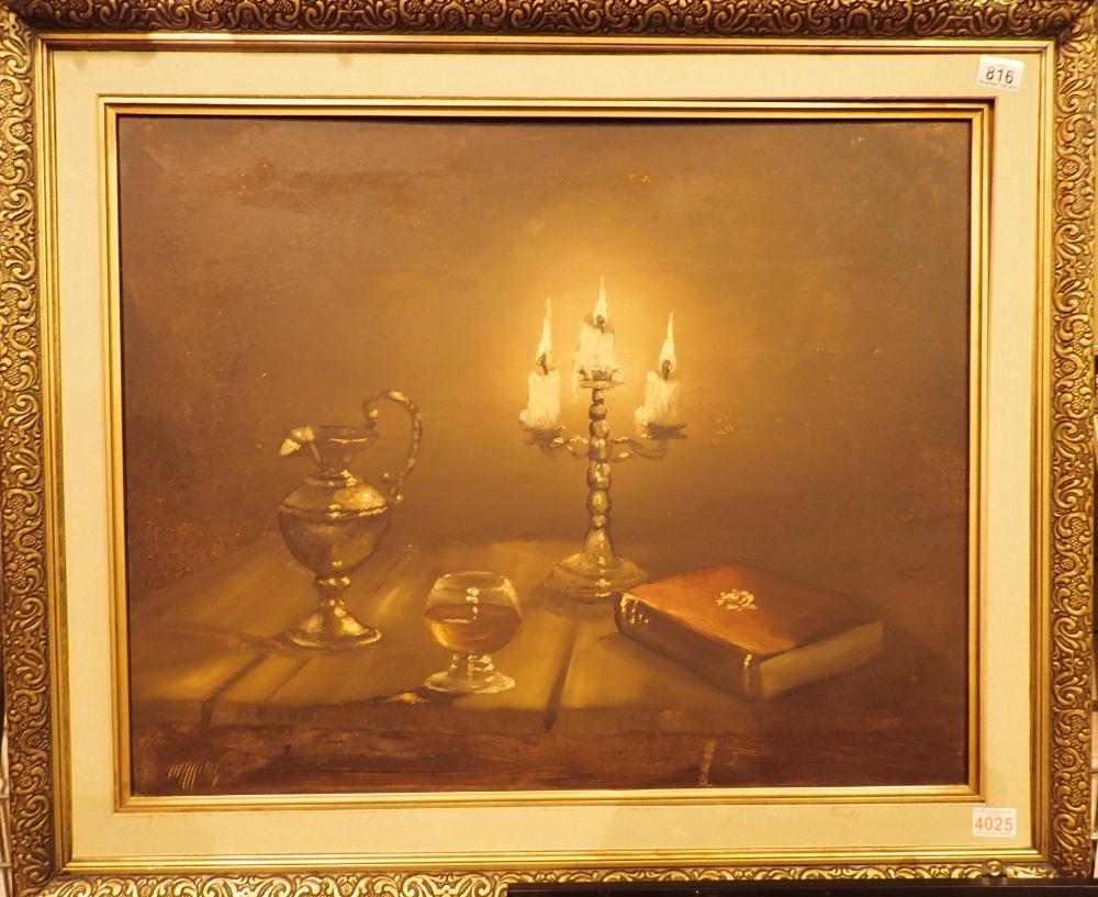 Lot 816 - Large framed oil on board table scene by
