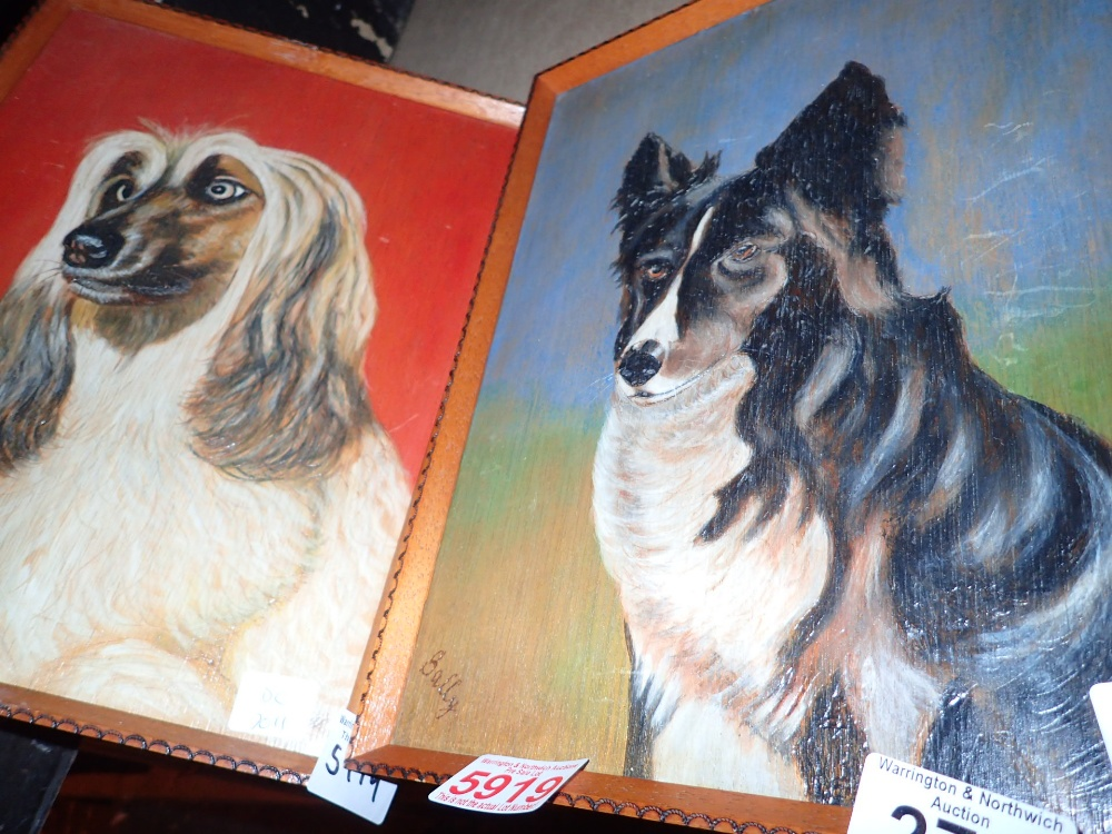 Lot 279 - Two oil on board hand paintings of dogs