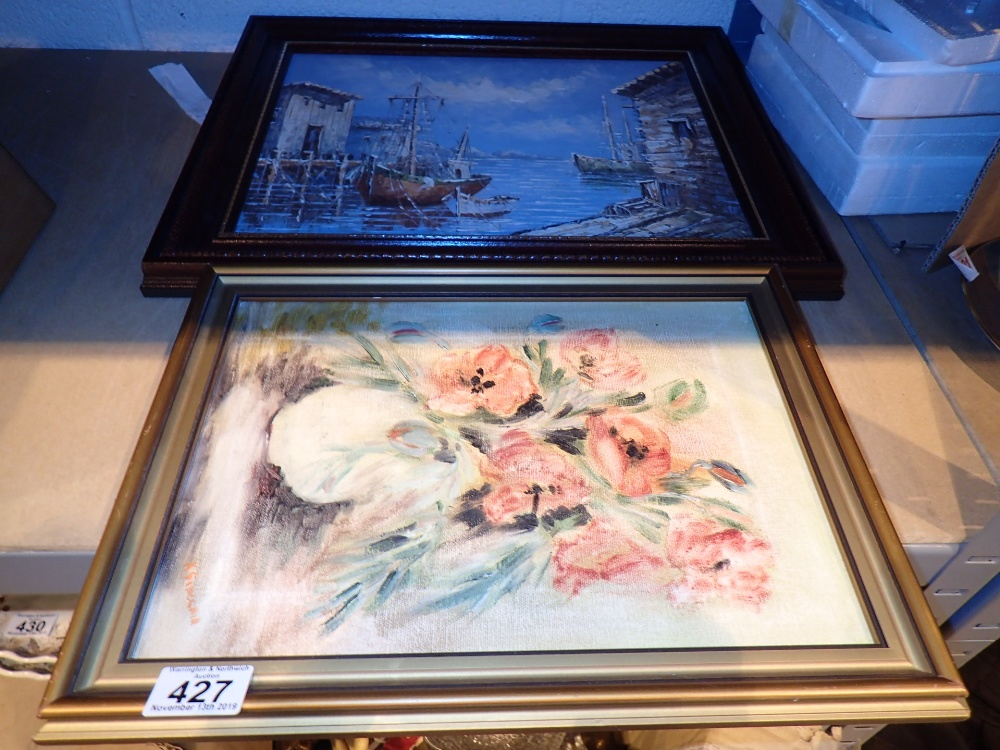 Lot 427 - Framed oil painting of sailing ships in