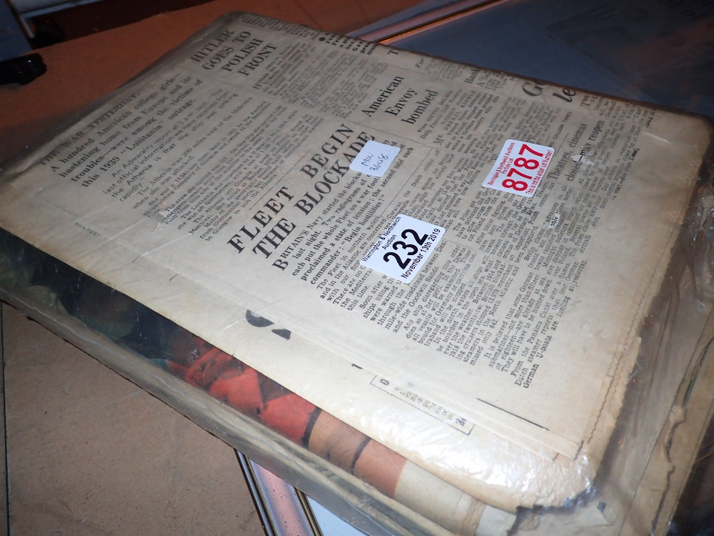 Lot 232 - Collection fo vintage newspapers WWII an