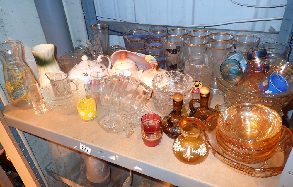 Lot 247 - Shelf of glassware and pottery