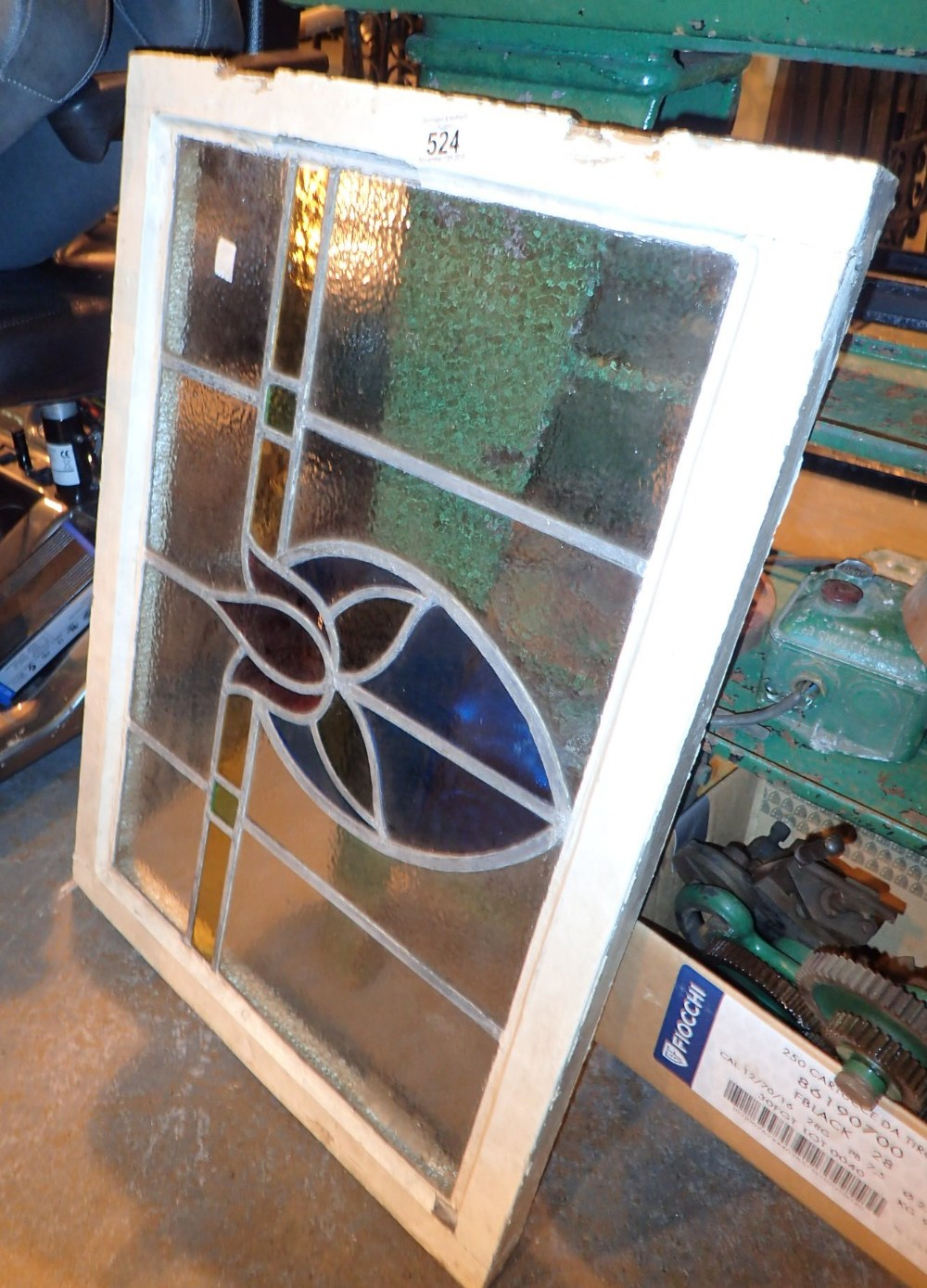 Lot 524 - Vintage stained glass leaded window