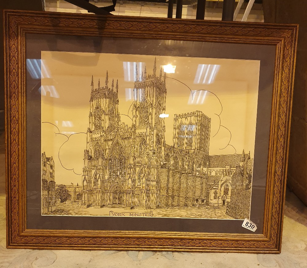 Lot 830 - Large framed ink on paper of York Minste