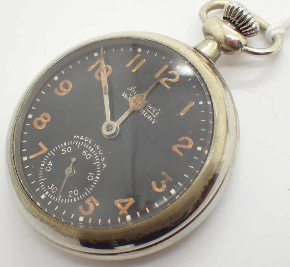 Lot 1214 - Vintage chromium black face luminous numeral Ingersoll Waterbury pocket watch