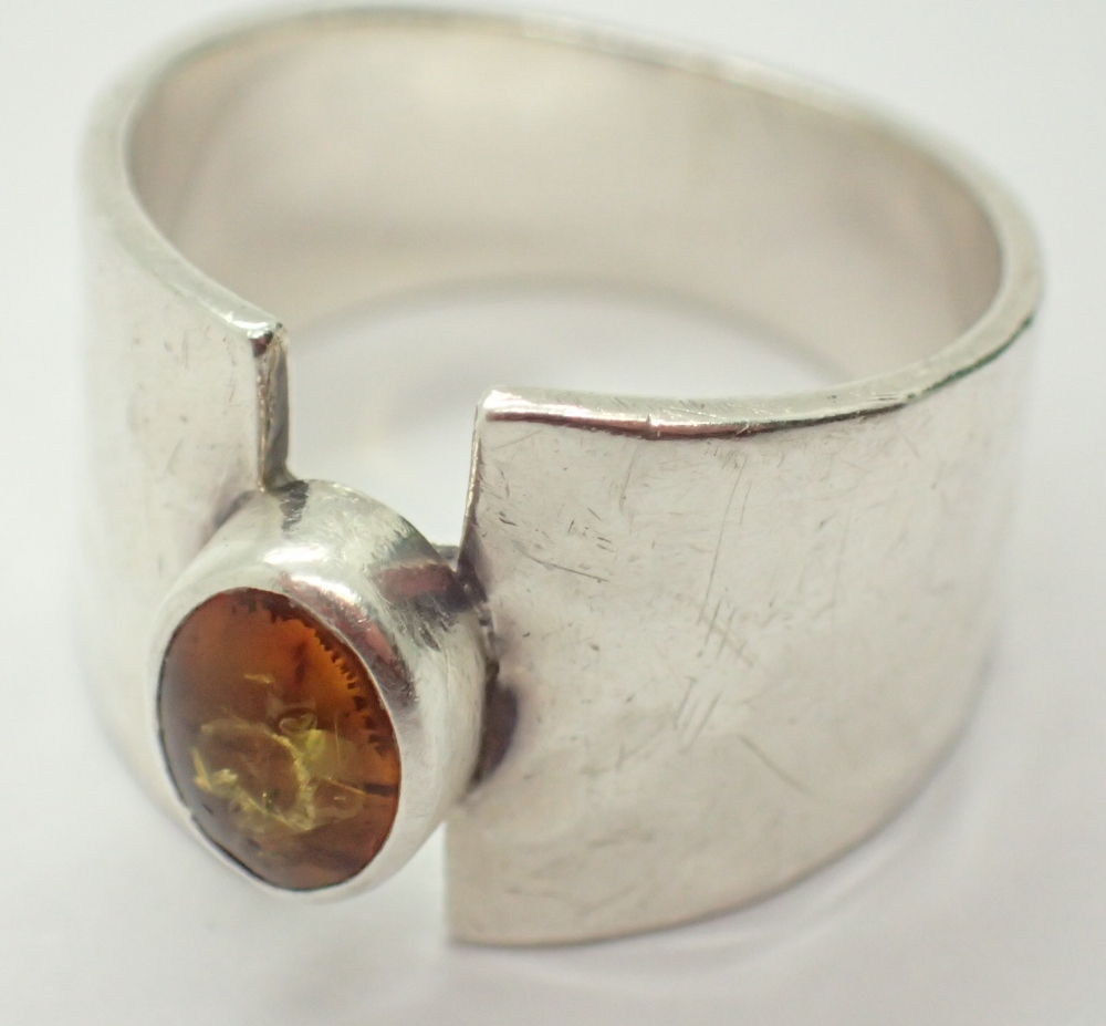 Lot 1244 - Sterling silver fancy amber solitaire ring fully hallmarked