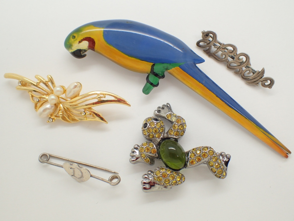 Lot 1236 - Five assorted brooches including parrot example