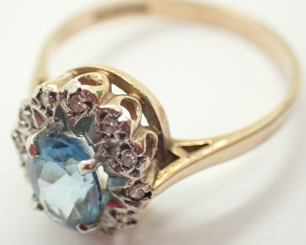 Lot 1204 - 9ct gold and aquamarine ring 2.