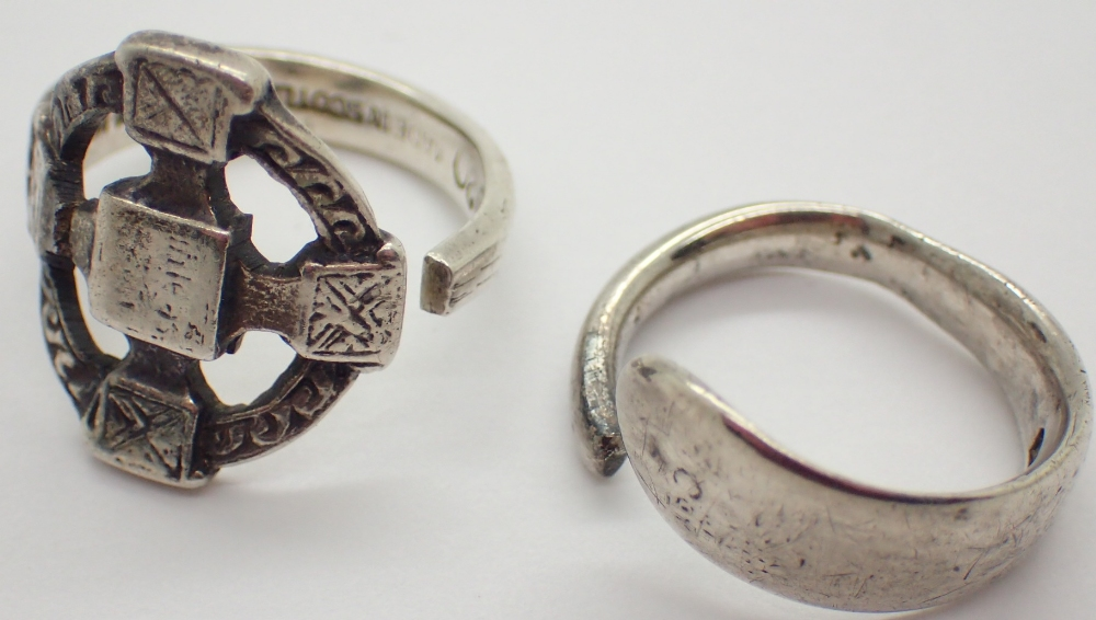 Lot 1225 - Two 925 silver rings one Scottish one hallmarked