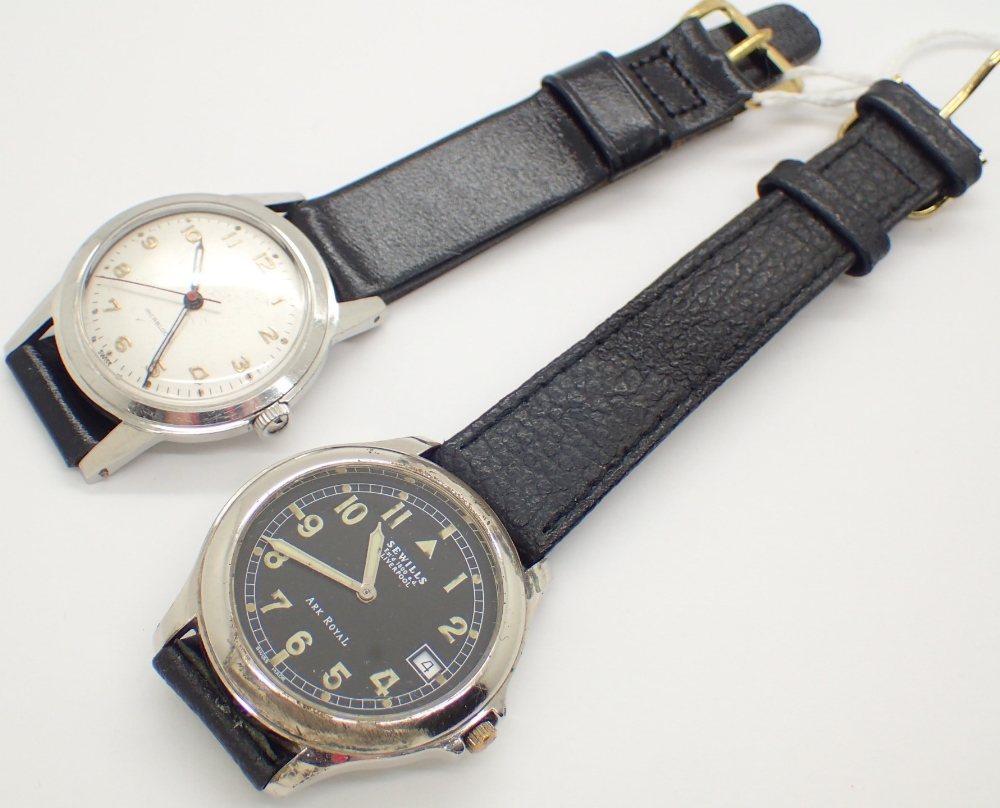 Lot 1209 - Two vintage wristwatches including black faced example