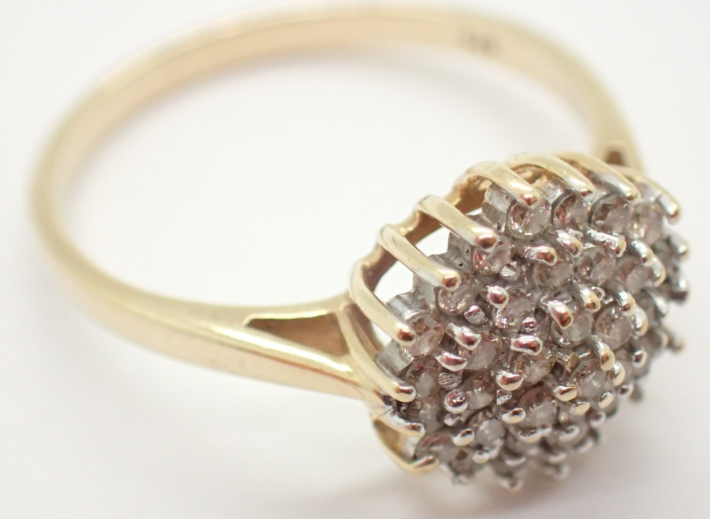 Lot 1222 - 9ct yellow gold diamond cluster ring size R 3.