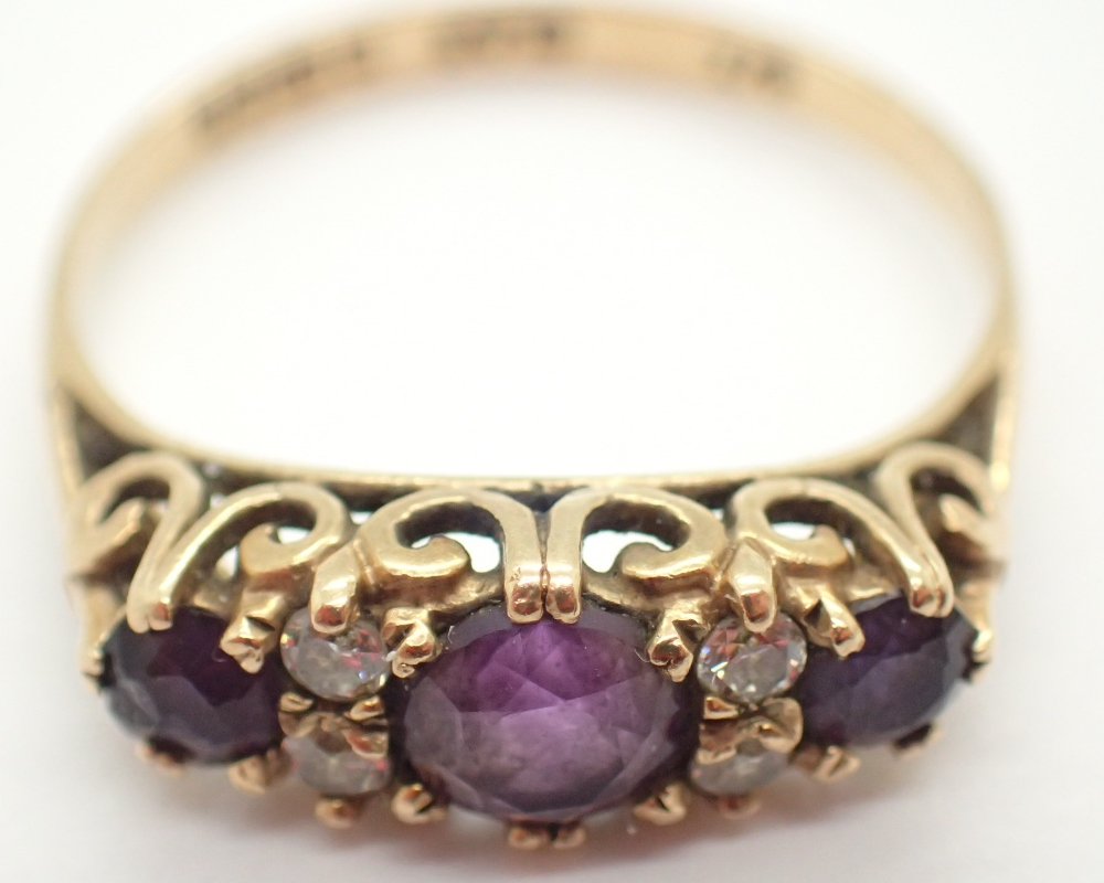 Lot 1221 - 9ct yellow gold ring set with amethyst and cubic zirconia size P