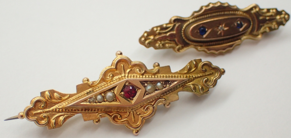Lot 1226 - Two Victorian 9ct yellow gold mourning brooches both with hair samples to back one sapphire set the