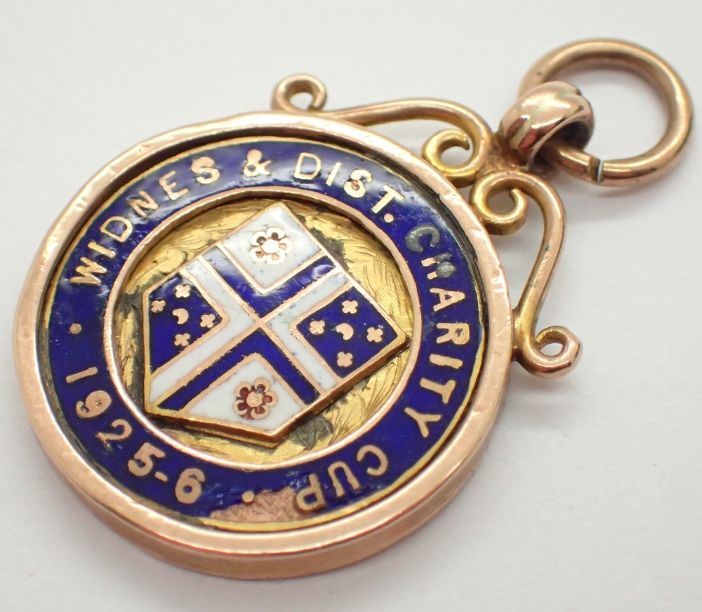 Lot 1250 - Two enamelled 9ct gold fob for Widnes 1926 and 1931 14.