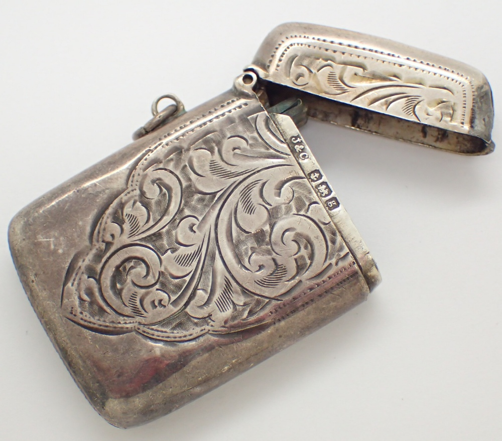 Lot 1229 - Hallmarked silver vesta case marked JHC Birmingham assay